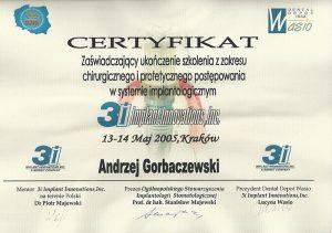 certyfikat chirurgiczne i protetyczne postępowanie w implantologii