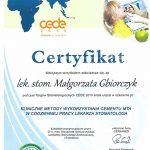 certyfikat kliniczne metody wykorzystania cementu mita w stomatologii